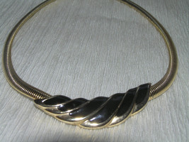 Vintage Thick Goldtone Omega Chain with Black Enamel Tapered Swirl Faux Slide - $8.59