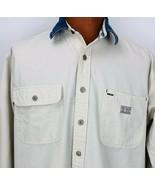 Vtg Tommy Hilfiger Beige Rugged Denim American Railroad Button Shirt Medium - $49.49