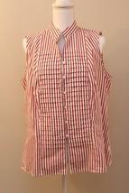 Jones New York Woman Plus 1X Cotton Sleeveless Button Down Top Orange St... - $24.09
