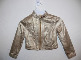 Disney Girls Gold Distressed Metallic Shiny Jacket Size M 5/6 mc - $14.99