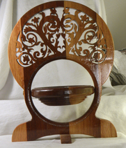 #1991 Wooden Folding Scroll collapsible Bowl Basket with heart design - $20.00