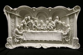 X-Large The Last Supper Jesus Wall Plate Plaque Catholic Statue Vittoria Italy - $339.95
