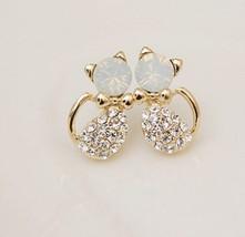 Lovely Rhinestone Cat Stud Earrings - $8.99