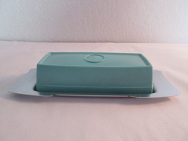 Vintage Silver and Aqua Butter Dish - $11.50