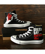 Design Hand Painted Green Day Converse High Top Canvas Sneakers Men Wome... - $129.00