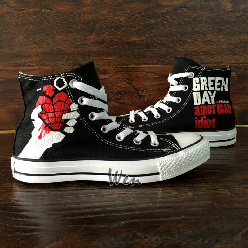 Design Hand Painted Green Day Converse High Top Canvas Sneakers Men Women Shoes