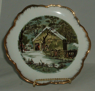 Currier and Ives The Old Homestead In Winter Barn Scene decorative Plate