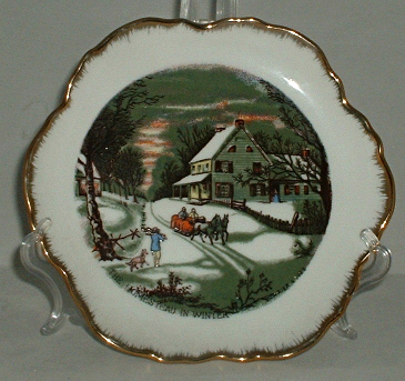 Currier and Ives The Old Homestead In Winter Sleigh Ride Decorative Plate