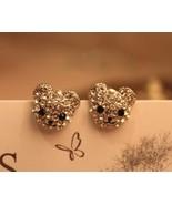 Rhinestone Smiling Bear Stud Earrings(Gold) - $8.99