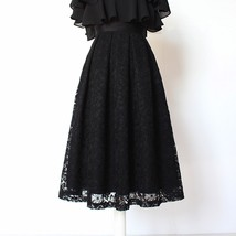 BLACK LACE A Line Midi Pleated Skirt Lady High Waisted Pleated Black Lace Skirt