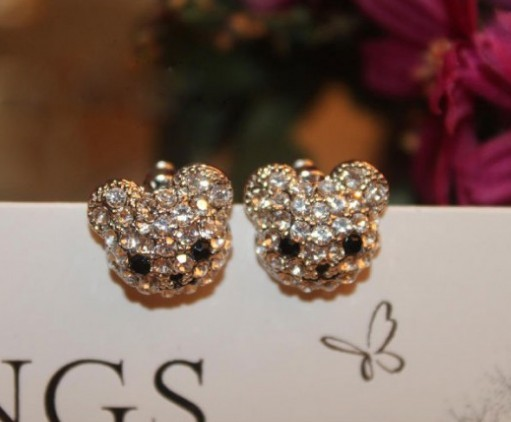Primary image for Rhinestone Smiling Bear Stud Earrings(Silver)