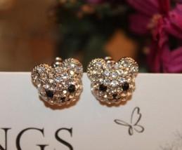 Rhinestone Smiling Bear Stud Earrings(Silver) - $8.99