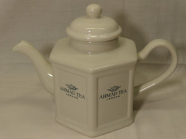 "AHMAD TEA LONDON ~ TEA POT ~ WHITE 7"" ~ Produced for Designpac Inc. ~ He... - $7.87"