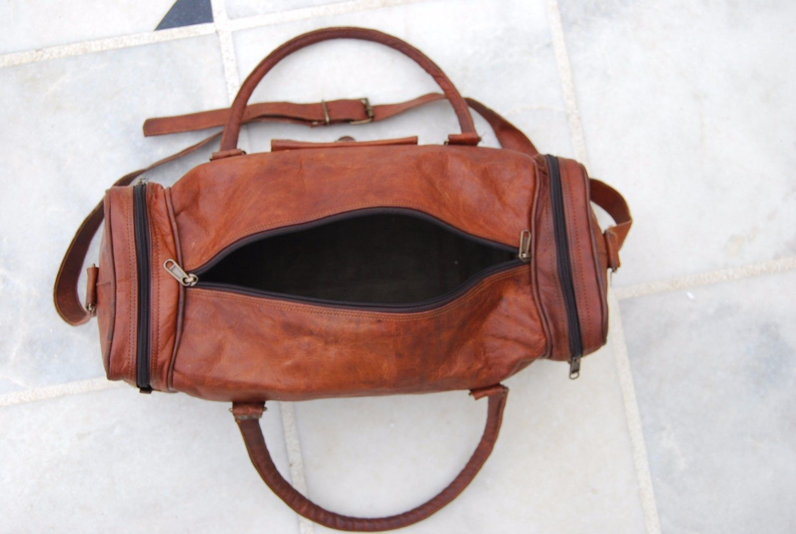 HANDMADE REAL LEATHER DUFFEL BAG WEEKEND GYM OVERNIGHT CANVAS TRAVEL BAGS MENS
