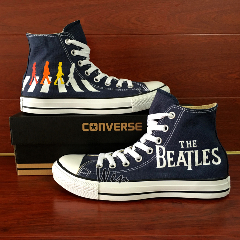 Custom The Beatles Abbey Road Converse Hand Painted Shoes Men Women Sneakers