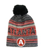 Atlanta A Patch Fade Out Cuffed Knit Winter Pom Beanie Hat (Gray/Red) - $11.95