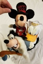 Rare Disney Mini Bean Bag Plush Millennium Set Donald Goofy Mickey Mouse 3 in 1 - $24.49