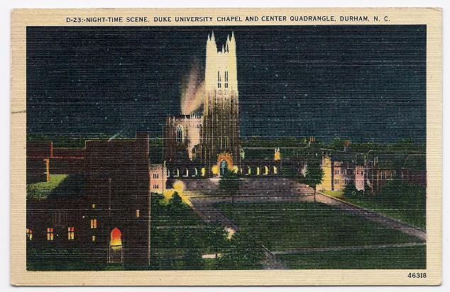 Primary image for 1941 - Nighttime at Duke University Chapel and Quadrangle - Used