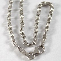 18K WHITE GOLD CHAIN NECKLACE SAILOR'S OVAL NAVY LINK 23.62 IN. MADE IN ITALY image 2