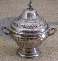 Lidded Box With Handle - Antique Silver Box- Si... - $53.32