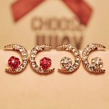 Shinning Moon Shape Rhinestone Stud Earrings(Red) - $8.99