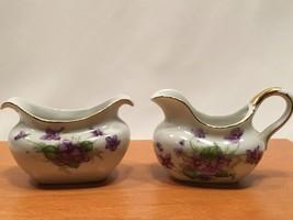 Lefton Petite Creamer and Sugar White Purple Violets - $19.99