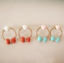 Ring Shape Alloying Heart & Bowknot Stud Earrings(Blue) - $8.99