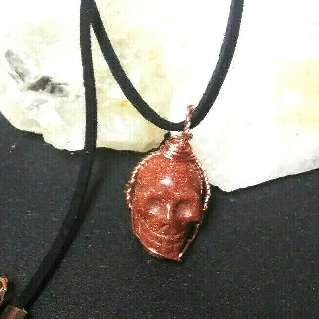 Primary image for Necklace Skull Pendant Sandstone Copper Wire Wrapped Natural Stone Wiccan Pagan