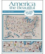 America The Beautiful Map cross stitch chart Sue Hillis Design - $10.00
