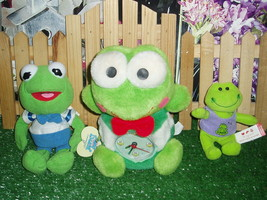 "PLUSH FROG CLOCK - STUFFY - 5"" TALL + KERMIT MUPPET BABY & BUILD A BEAR ... - $7.99"