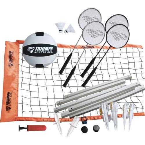 Volleyball Badminton Combo Set Net Poles Rackets Birdies Shuttlecocks Sports Fun