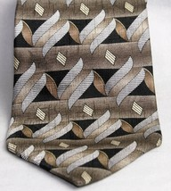 Zylos by George Machado 100% Silk Neck Tie Geometric Brown, Taupe, Black, Silver - $10.93