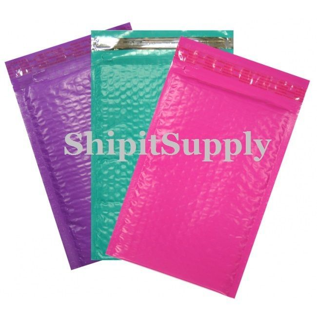 3-500 #000 ( Pink Purple & Teal ) Combo Poly Color Bubble Padded Mailers  4 X 8