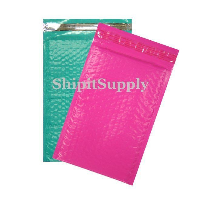 2-500 #000 Poly ( Pink & Teal ) Combo Color Bubble Padded Bubble Mailers 4X8