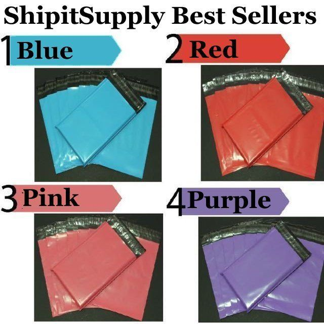 2.5 Mil 1-1000 9x12 ( Blue Pink Purple or Red ) Color Poly Mailers Best Sellers