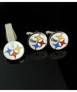 Football cufflinks Swank 1960s Vintage Steelers Cufflinks Steel Tie Clip... - $160.00