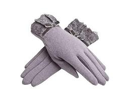 PANDA SUPERSTORE Simple Grey Warm Ski Gloves for Women Lace Wool Gloves