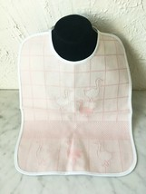 Baby Bib Counted Cross Stitch 10 Count Aida - Pink Duck Print Ties at Neck - $14.20