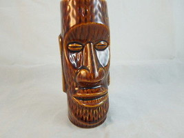 LARGE BROWN TIKI GLASS Orichios of Hawaii R-72 made in Japan - $17.27