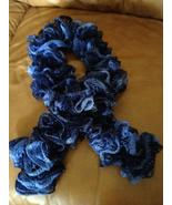 Exquisite hand knit frilly festive fashion scarf in multi-blues - $20.00