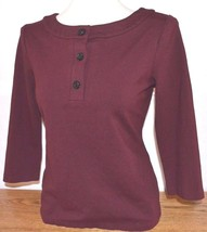 Talbots Red/Brown 3/4 Sleeve Knit Shirt/Sweater Glittery Buttons S Small... - $12.19