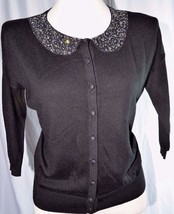 Ann Taylor Black Cardigan Sweater w/Rhinestone/Bead Collar XS Small 0-2-4 - $13.99