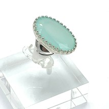 Seafoam Color Chalcedony Sterling Silver Solitaire Ring Size 7 - $59.34