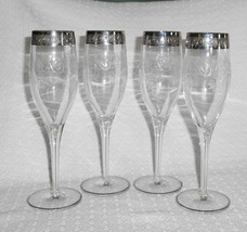 Set of 4 Beautiful Platinum Encrusted Champagne Flutes with Etched Scrol... - $24.74