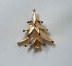 Vintage Xmas Tree Pin Brooch MCM Mod Multi Color Tiny Rhinestones JJ Jonette - $19.75