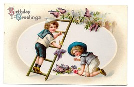 1913 Birthday Greetings Victorian Boys Sailor Suits Picking Grapes Vntg ... - $6.99