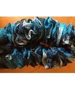 Hand knit frilly multi-blue/aqua fashion  scarf - $20.00