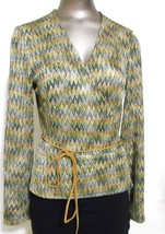 Finity Studio  Green Chevron Long Sleeve Belted Jacket  Blouse Top Size 8 - $11.72