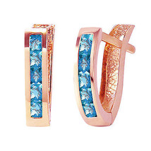 1.2 Carat 14K Solid Rose Gold Oval Huggie Earrings Blue Topaz - $217.38