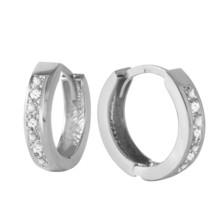 0.04 Carat 14K Solid White Gold Hoop Huggie Earrings Diamond - $275.41